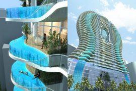 一度は住んでみたい!?部屋ごとにガラスプールがある流体デザイン近未来マンション!